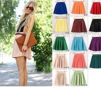 women soft chiffon Short skirt bohemian pleated Short Skirts lady high quality double layer chiffon Skirt SL-01