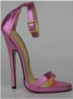 12CM pink leather pointed stilettos