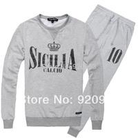 free Beckham men's sport sets  SICILIA CALCIO letters printed  men's hoodies  sport sets 3 color black grey navy fashion
