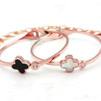 High quality titanium rose gold clover bracelet 18k rose gold color gold hand ring gift