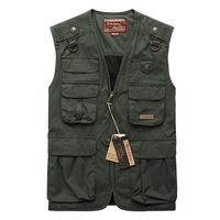Fashion plus size military spring and autumn outdoor multi-pocket waistcoat male vest Army Green photography vest