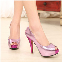 2014 Spring Women's Shoes Fashion Shoes Waterproof Ultra High Heels Sandals Fish Head With Hollow Fine *298