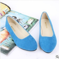 Spring 2014 women's shoes girls flat shallow mouth sexy shoes work shoes woman simple shoes spell color women flats brand