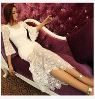 Discount! New 2014 summer women back placketing flare sleeve lace crotch cutout one-piece dress full dress sweet sexy dresses