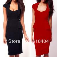 free shipping wholesale Women Casual Career Wear to Work Elegant Peplum Cap Sleeve Pencil Dress black red pink S M L XL XXL FY