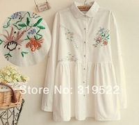 Romantic pure white cotton long sleeve dress Orchid embroidery vintage peter pan collar cardigan one-piece dress
