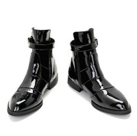 Pointed toe genuine leather martin boots the trend of fashion japanned leather high boots outdoor boots califs male