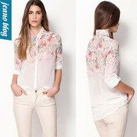 Free shipping 2014 NEW spring fashion European style  elegant fashion sweet printed ladies blouse, womens chiffon shirt JR 8303