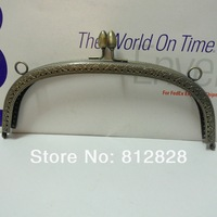5pcs 20.5cm Antique Bronze Metal Clutch Purse Frame with Clip Clasp and Sewing Holes