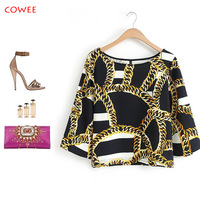Free Shipping+New arrival 2014 Women spring fashion o-neck chain pattern pullover shirt