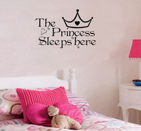 The Princess sleeps here  - Wall Say Quote Word Lettering Art Vinyl Sticker Decal Home Decor Words