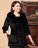 EMS Free Shipping 100% Real Genuine Natural Fox Fur Collar Rex Rabbit Fur Long Coat Jackets Overcoat Garment For Women PC452
