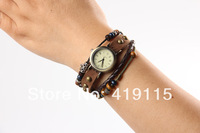 Women high Quality long band genuine Cow leather watches ROMA header punk wrap bracelet watch
