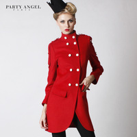 Winter double breasted fashion red big women's slim medium-long woolen outerwear clothing