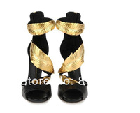 2014 Free shipping black/white fashion shoes with gold metal leaves for ladies Hot selling  genuine leather high heel pumps