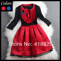 2014 early spring summer designer women's dresses red blue black lace 3d flower brooch fashion vintage brand dress ball gown