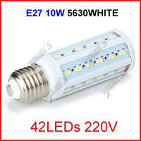 ( 100 pcs/lot ) E27 220V 10W 42 LEDs 5630 SMD LED Corn Light Lamp Corn Bulb White/Warm White Lighting Wholesale