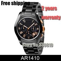 New Mens Ceramic Black Chronograph Dial Quartz Sports Watch AR1410 AR 1410 Gents Wristwatch Classic Fashion Watch + Original Box