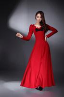 2014 spring petal skirt red color long skirt umbrella style women fashion islamic clothing muslim abaya