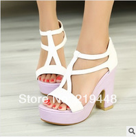 Summer Korean Fish Head High Heels Shoes Thick With Waterproof Europe Soled Sandals Korean Princess Tide Sandals