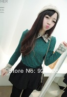 2014 Korean Women T-shirt / elegant lace T-shirt / hook flower lace diamond lapel T-shirt