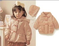 Retail spring and autumn girls pink cotton coat children fashion jacket baby wear outfit girls warm outwear parks