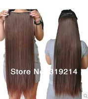 "24""(60cm) streight clip in hair extensions hair piece hair 1pcs set 4 clips #8"