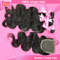 Online store peruvian virgin human body wave 3 bundles with bleached closure hot selling ms lula hair product free shipping