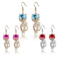 New 2014 Korean jewelry romantic delicate cat Lynx popular Austrian crystal earrings