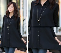 2014 spring plus size XXL, XXXL 4XL 5L Women Black  Chiffon Shirt Long Top Chiffon Basic Shirt With Free Belt Free Shipping