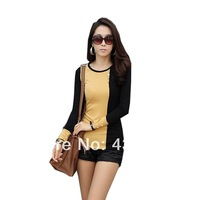 Fashion Women's Tops Long Sleeve O Neck T Shirt Slim Fit Casual Shirt Cotton Top Pull Over Patchwork Button Decoration