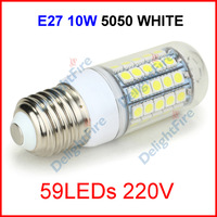 ( 200 pcs/lot ) E27 220V 10W 59 LEDs 5050 SMD Cover LED Spotlight Light Lamp Corn Bulb White/Warm White Lighting Wholesale
