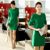 new 2014 Spring cute peter pan collar ol style slim elegant plus size high waist long-sleeve dress