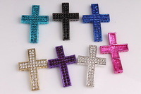 Mixed colors New Curved Double pave Disco Crystal Cross Connector Charm Bead making bracelet