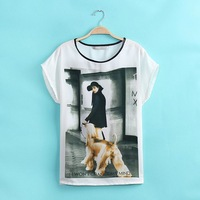 2014 summer new European and American women's white short-sleeved shirt round neck T-shirt T-shirt printing t shirt