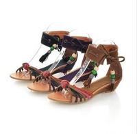 Size EU 34--39 Free Ship 2014 New Women Strap Shoes Summer Flat Small Wedges Open Toe Bandage Leuconostoc Women's Sandals
