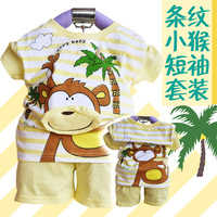 2013 clothing summer male female child baby cartoon short-sleeve twinset casual sports set