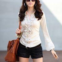 M-XXXXL 2014 Autumn Fashion OL  Shirt Gentlewomen Ruffle Collar Long-Sleeve Plus Size Chiffon Blouses Trend Of  Cheap Clothing
