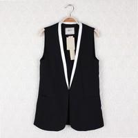 Cabbage price of the fashion van ol elegant V-neck color block sleeveless decoration popper slim suit vest female h14h15