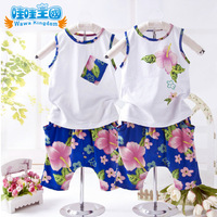 2014 Fashion floral clothing baby infant boy girl summer set vest +shorts 2pieces kids children casual summer set suit for 2-5y