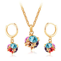New 2014 Romantic Colorful Crystal promotional package! Jewelry Earrings + Necklace Set