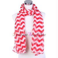 (12 pieces/lot) Wholesale 100% Polyester Women's Stripe Chevron Chiffon Long Scarf Scarves Free Shipping SC0027
