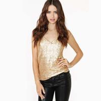 Fashion women's sweet sexy gold paillette spaghetti strap slim lining small vest female