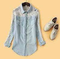 Spring 2014 Women Jean Blouses Cotton Hollow Out Shirt women's denim lace crotch patchwork women's shirt tops for women Hot