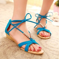 2014  flat heel sandals shoes beaded lacing gladiator small wedges shoes 3 color casual shoes  free shipping