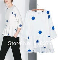New 2014 Fashion women's spring and summer new arrival girl dot print skirt  white casual dress