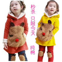 Spring children's clothing child spring female child fleece sweatshirt set baby 100% cotton sweatshirt set 2 - 9