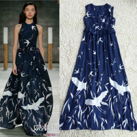 Free shipping Runway 2014 Birds Printed Sleeveless Long Silk Dress 140308Z02