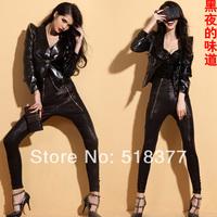 Promotion Japanned leather jacket  fashion normic slim short design shoulder pads suit 6026 punk style  fashion women clothing