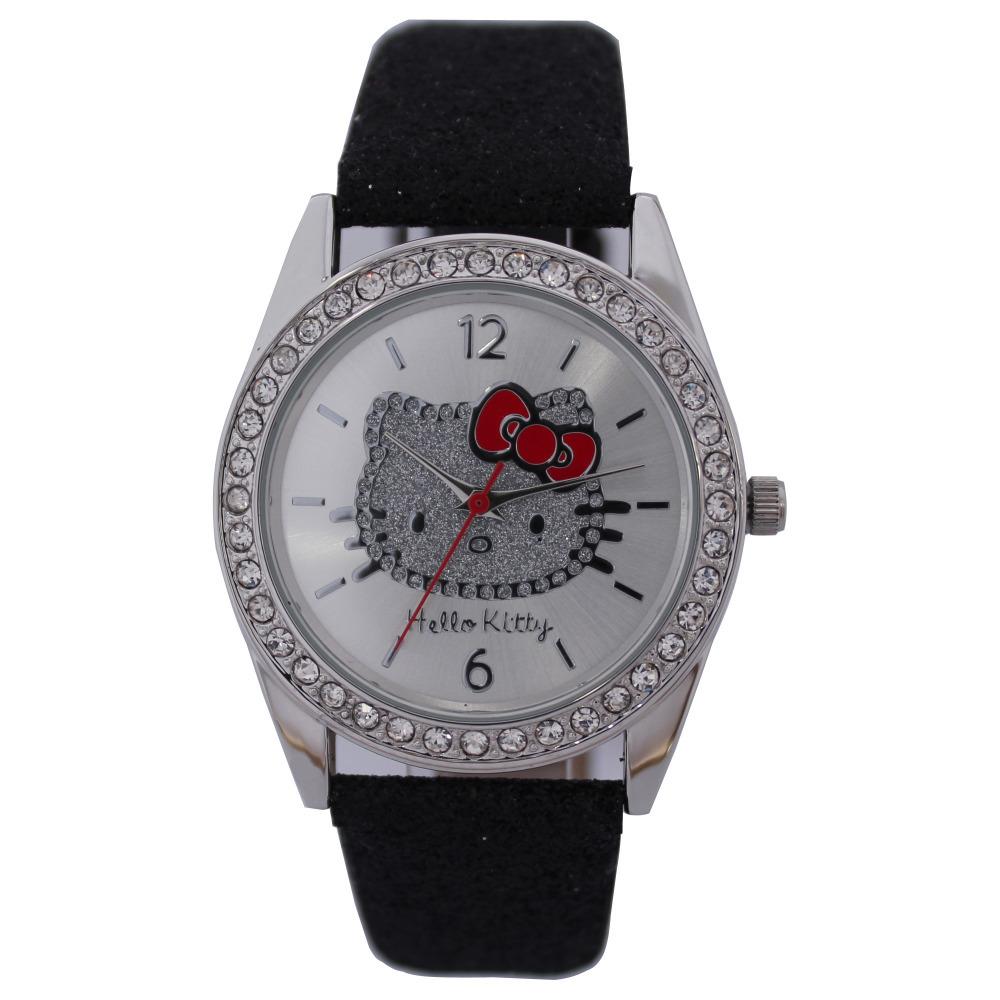 Free Shipping New Arrival Item Cute Hello kitty Diamond Analog Quartz Watch For Women/ Girls Fashion Wrist Watch Hours Best Gift(China (Mainland))